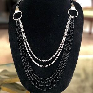 Jewelry - Long Black and Silver Chain Necklace